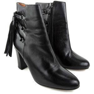 HALOGEN Black Sadee Leather Tassel Ankle Boots